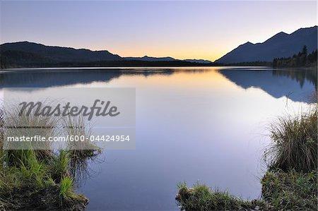 Sunrise over Lake Barmsee, Kruen, Upper Bavaria, Bavaria, Germany
