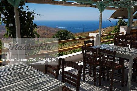 Restaurant Overlooking Sea, Kampos, Syros, Cyclades Islands, Greece