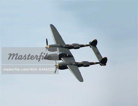 Vintage turboprop airliner in flight