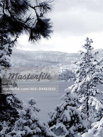 Winter scene at lake Tahoe, California