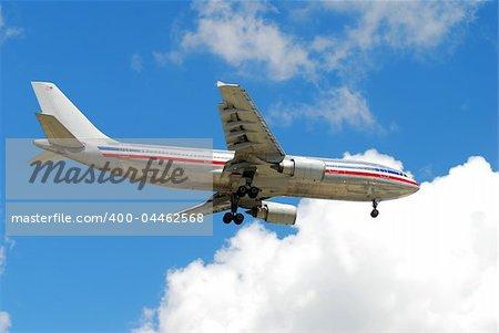 View of underside of airliner in flight