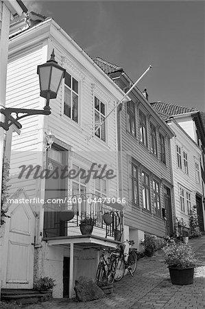 Backstreet in Bergen, Norway; wooden houses