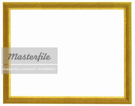 golden horizontal frame isolated on white background
