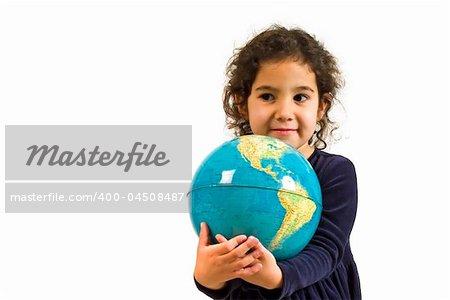 littel girl holding the globe isolated on white