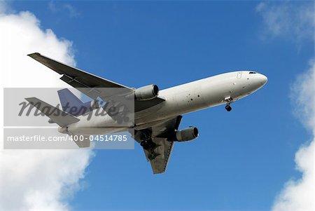 Heavy freight plane in flight