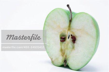 A sliced green apple.