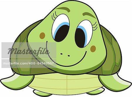 illustration cartoon of a green smile turtle