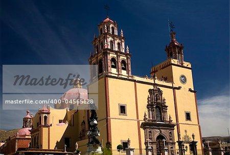 Basilica of our Lady of Guanajuato, La Basilica de nuestra Senora de Guanajuato, Steeples Blue Skies and Mexico