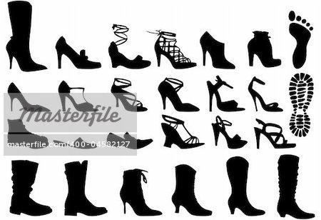 shoe silhouettes set, vector