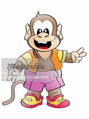 icolated cheerful monkey, vector wallpaper