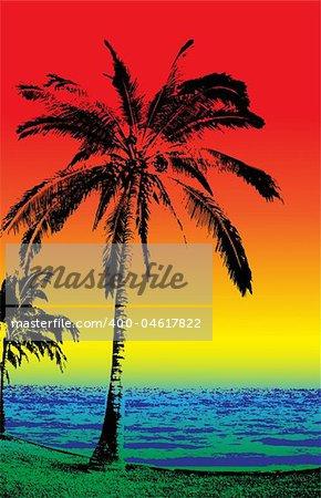 the beach, gradiented vector illustration