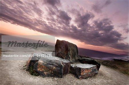 Widemouth Bay, Cornwall, UK. Summer evening on the coast of Cornwall.