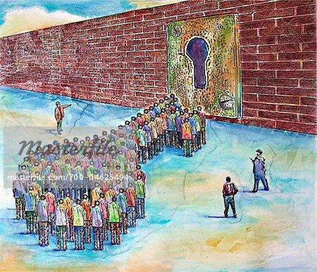 Groupe de gens debout en forme de clé de serrure sur le mur de brique