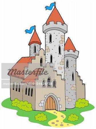 Ancient medieval castle - vector illustration.