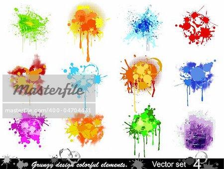 Grungy design colorful elements. Vector illustration set (4)