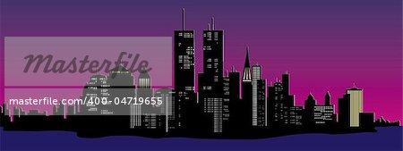 vector illustration of a night time city skyline