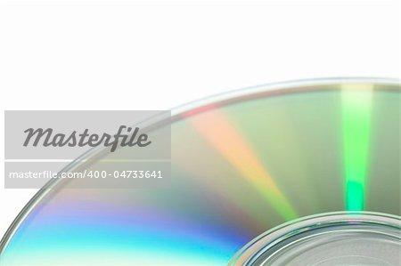 cd surface, on white background, macro shot.