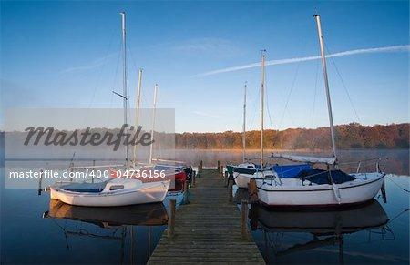 small port at a lake