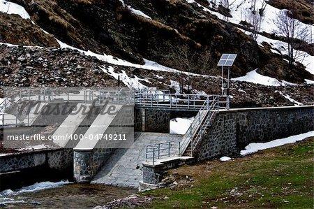 Dam with solar panel in Parco del Gran Paradiso, Italy