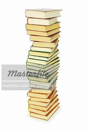 Pile de livres isolé sur fond blanc