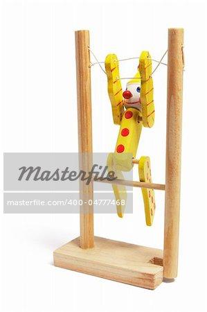Wooden Toy Gymnast on White Background