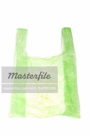 empty plastic bag, photo on the white background