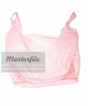 empty plastic bag on white background