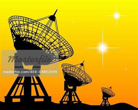 Black silhouettes of radars on an orange background
