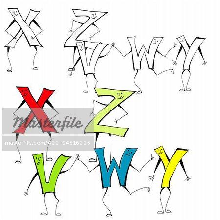 Set of cartoon style letters X, Z, V, W, Y