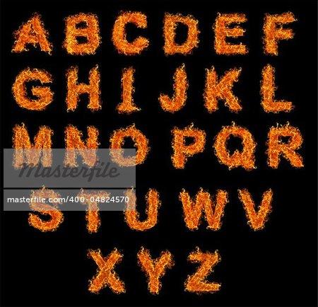 Set of Fire alphabet on a black background
