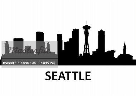 detailed illustration of Seattle, Washington