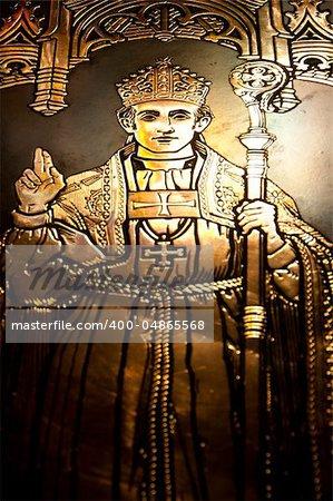 A golden bishop shinning in a church in Gibraltar