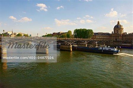 Barge Passes under a Bridge Across the Seine, Paris