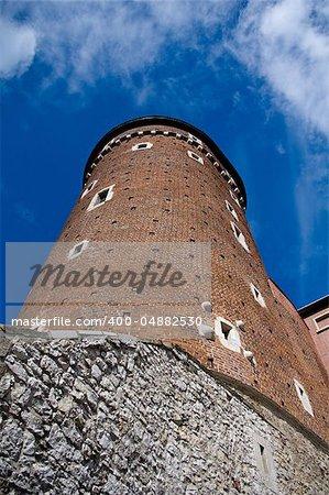 Wawel Castle tower. Krakow. Poland. Medieval history memorial