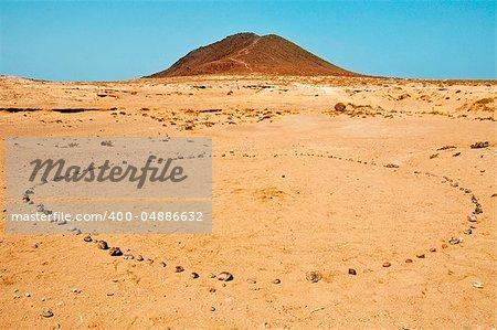 stones circle in Montana Roja in Tenerife, Canary Islands, Spain