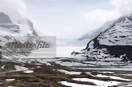 Snow-covered columbia icefield, jasper national park, alberta, canada