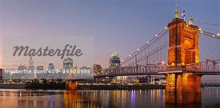 Image of Cincinnati, Ohio at twilight.