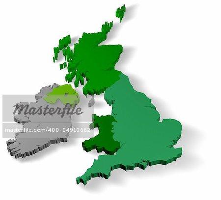 Illustration of united kingdom of great britain with republic of ireland on white background