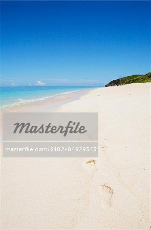 Footprints on tropical beach