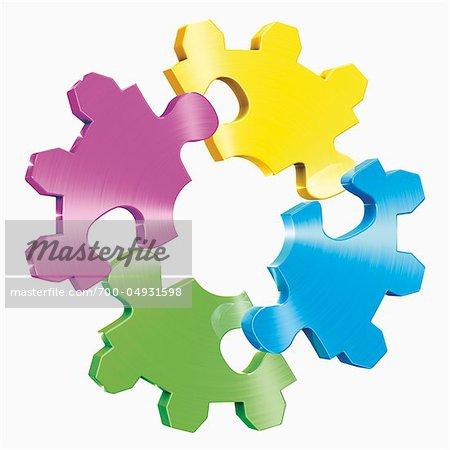 Bunte Puzzleteile in Form von Cog Wheel