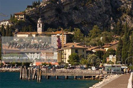 The lakeside town of Torbole in the Italian Garda Lake