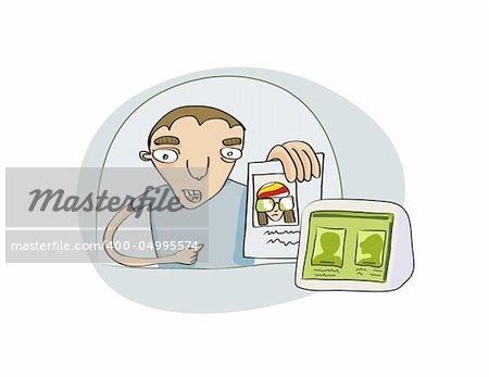 Vector Illustration drôle jeune montrant son document au service de sécurité