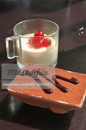 Dessert chocolate pudding and festive pudding