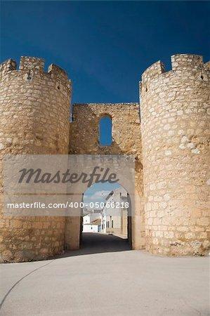 door of the big wall of belmonte village in spain