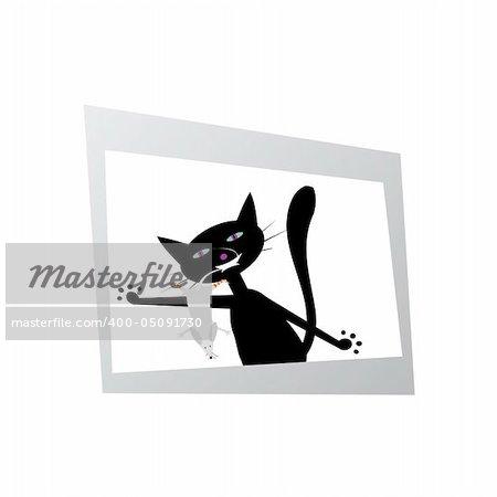 Chat noir avec une souris drôle sur la photo