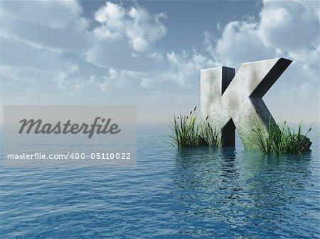 letter K rock in water landscape - 3d illustration