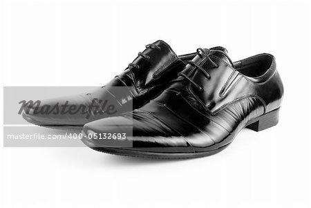Black men shoes isolated on white background