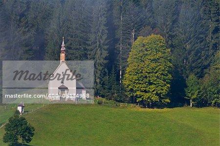 Beautiful church in Gosau, Salzkammergut region, Austria