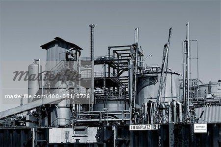 Oil refinery from harbor in Hamburg, Germany.