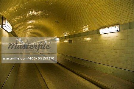 illuminated old tunnel under the Elbe in Hamburg